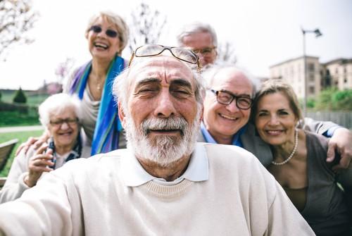 seniors taking selfies